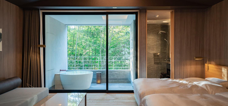 三輪 湯河原|木立のツイン(露天風呂付き客室)