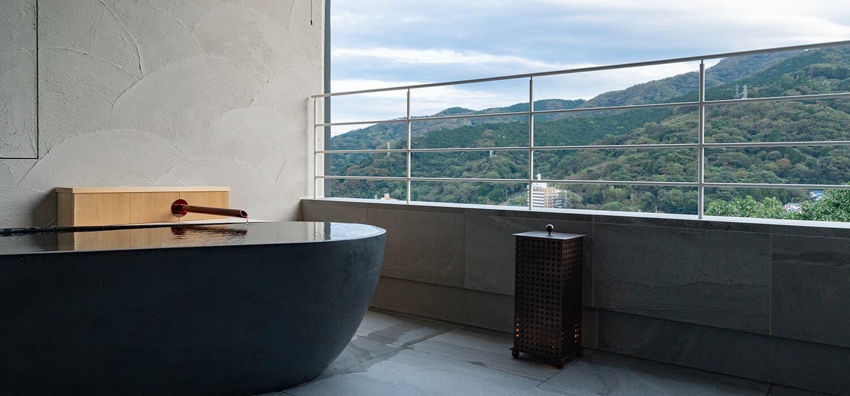 三輪 湯河原 山水のツイン 露天風呂